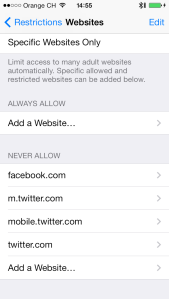 restriction settings on iPhone
